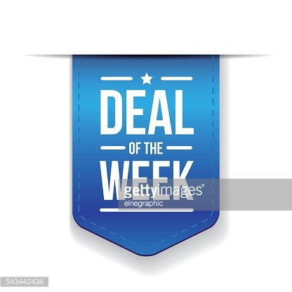 Deal of the week Blue ribbon vector