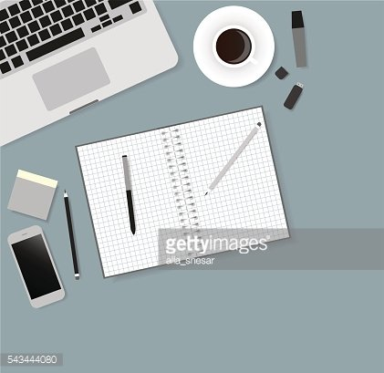 Desks laptop screen vector illustration of business people