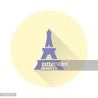 Eiffel tower icon with long shadow. Vector illustration
