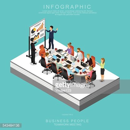 ISOMETRIC BUSINESS PEOPLE TEAMWORK MEETING in office, Set D
