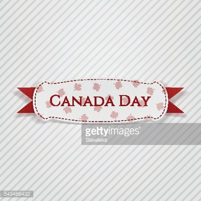 Canada Day greeting Tag with Ribbon