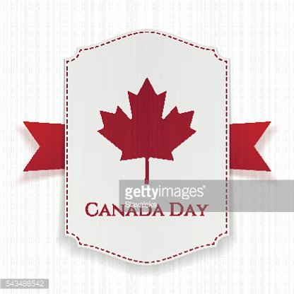 Canada Day national Label with Ribbon