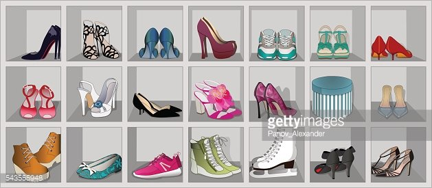 Set of womens shoes