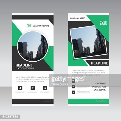 Green black triangle Business Roll Up Banner flat design template