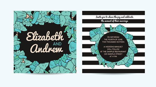 Wedding Invitation Card With Floral And Striped Background