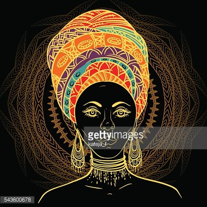 Beautiful African woman in turban over ornate mandala round pattern
