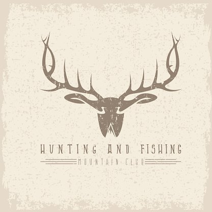 hunting and fishing emblem with duck deer and fish