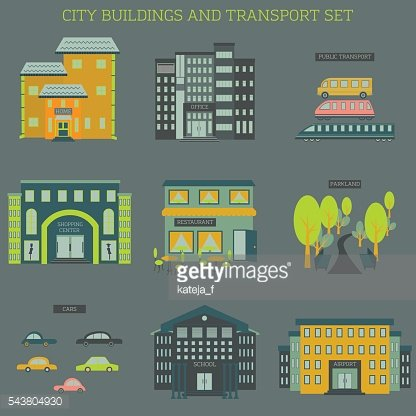 City buildings and transportation icons set.