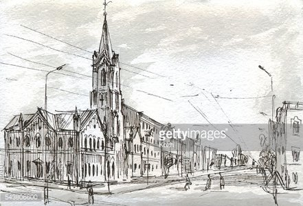 City views with church