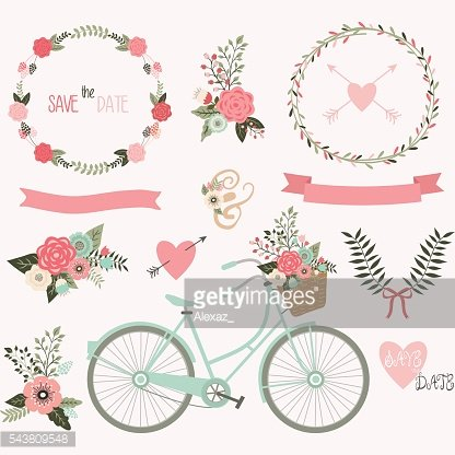 Wedding Invitation,Wreath,Laurel,Bicycle collections