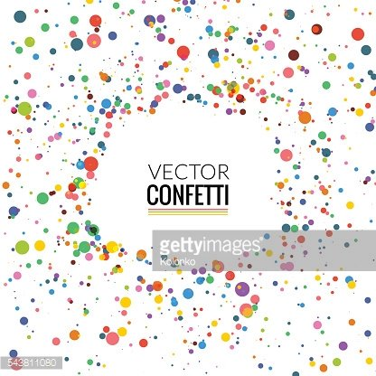 Colorful Confetti isolated on Transparent square Background. Christmas, Birthday, Anniversary
