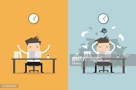 Businessman finish working and busy businessman unfinished work.