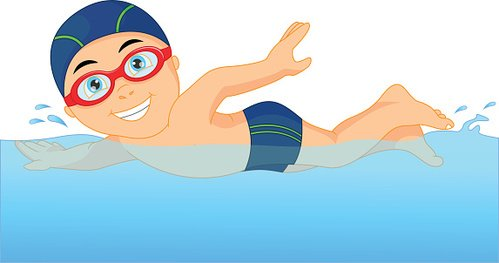 Vacation Clipart Image - clip art illustration of a cartoon boy with  goggles swimming