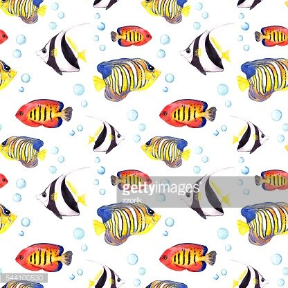 Tropical fishes. Repeating seamless pattern. Watercolor