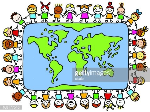 Happy Children Holding Hands Around World Map Cartoon premium ...