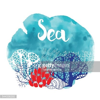 watercolor of sea life