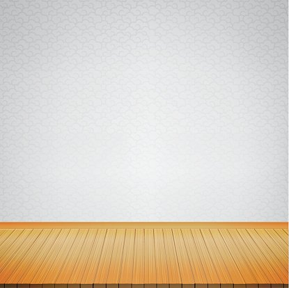 . Brown Wood Floor With Chinese Style Grey Background Empty Room