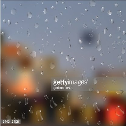 Drops of rain on window with abstract lights. 3d illustration