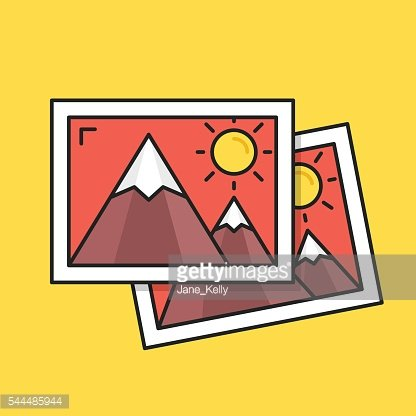 Thin line photos icon. Two pictures. Flat design vector illustration