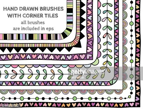 Vector set of nine hand drawn brushes