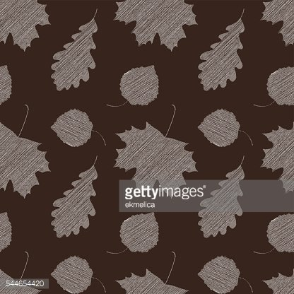 Scribble leaves seamless autumn pattern.