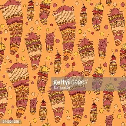 seamless pattern with feather in boho style