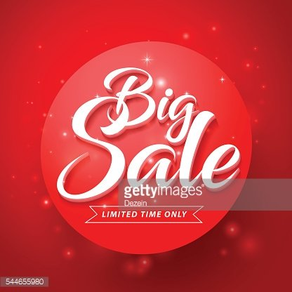 Vector Big Sale and Discounts Text in Glossy Abstract Red