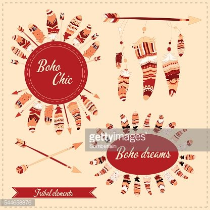 illustration with tribal frame, ethnic arrows and feathers. Boho style.