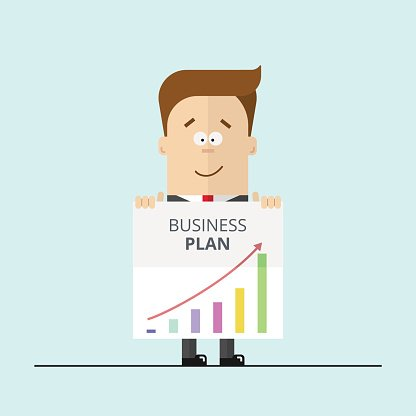 Businessman or manager in a suit shows business plan. Modern