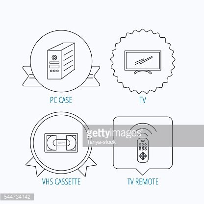 TV remote, VHS cassette and PC case icons.
