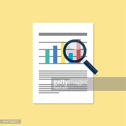 Document magnifying glass flat design vector illustration