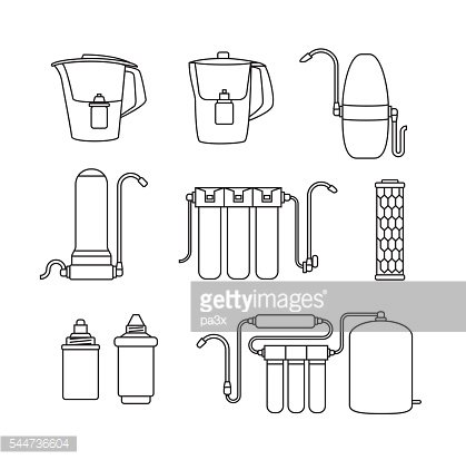 Water filter icons. Linear style.