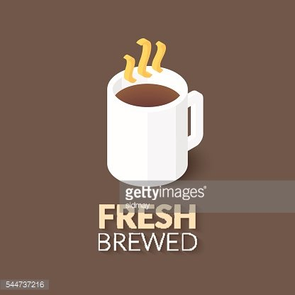 Hot coffee in white cup icon