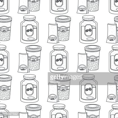 Seamless pattern with outline drawings on the theme of coffee.