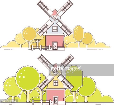 Vector illustration of color gray and red windmill with forest