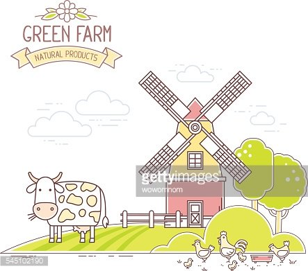 Agribusiness.Vector illustration of colorful farm life