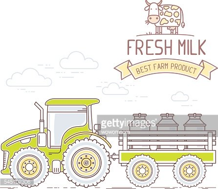 Agribusiness. Vector illustration of farm tractor with cart