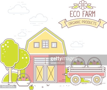 Agribusiness. Vector illustration of colorful modern farm life
