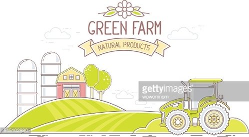 Agribusiness. Vector illustration of colorful green farm life