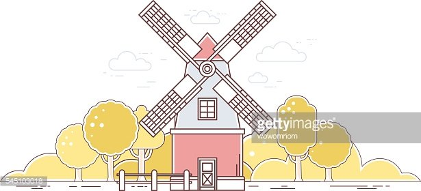 Vector illustration of color gray and red windmill