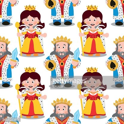 Seamless pattern with cartoon king and queen.