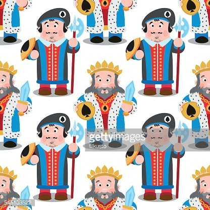 Seamless pattern with cartoon king and prince.