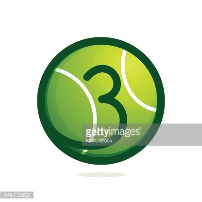Number three icon with tennis ball.