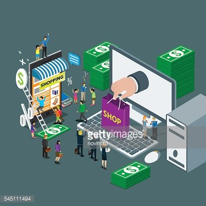 business technology internet for on line shop e-commerce isometric