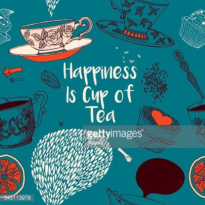 Happiness is cup of tea. Invitation card.