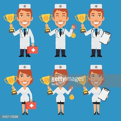 Doctor and Nurse Holding Cup and Medal