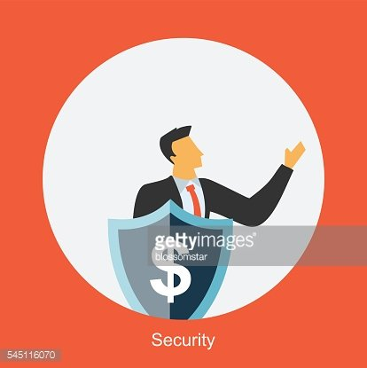 Businessman with shield protecting dollar