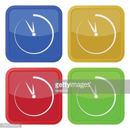 set of four square icons with last minute clock