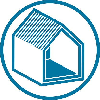 Real estate icon, vector abstract house. Property symbol
