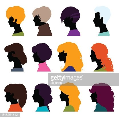 Set of female heads isolated on a white background.